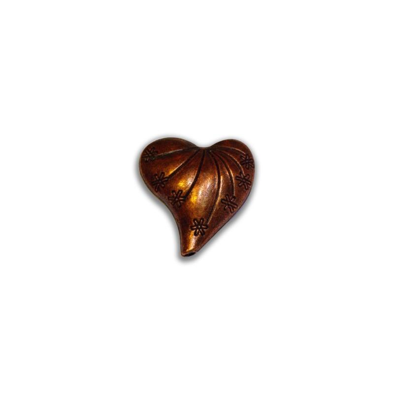 grosse perle coeur couleur cuivre antique 25mm. Black Bedroom Furniture Sets. Home Design Ideas