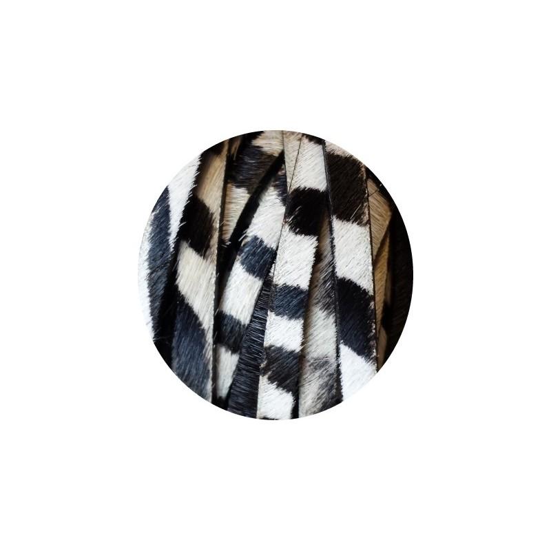laniere de cuir plat zebre avec poils 5mm. Black Bedroom Furniture Sets. Home Design Ideas