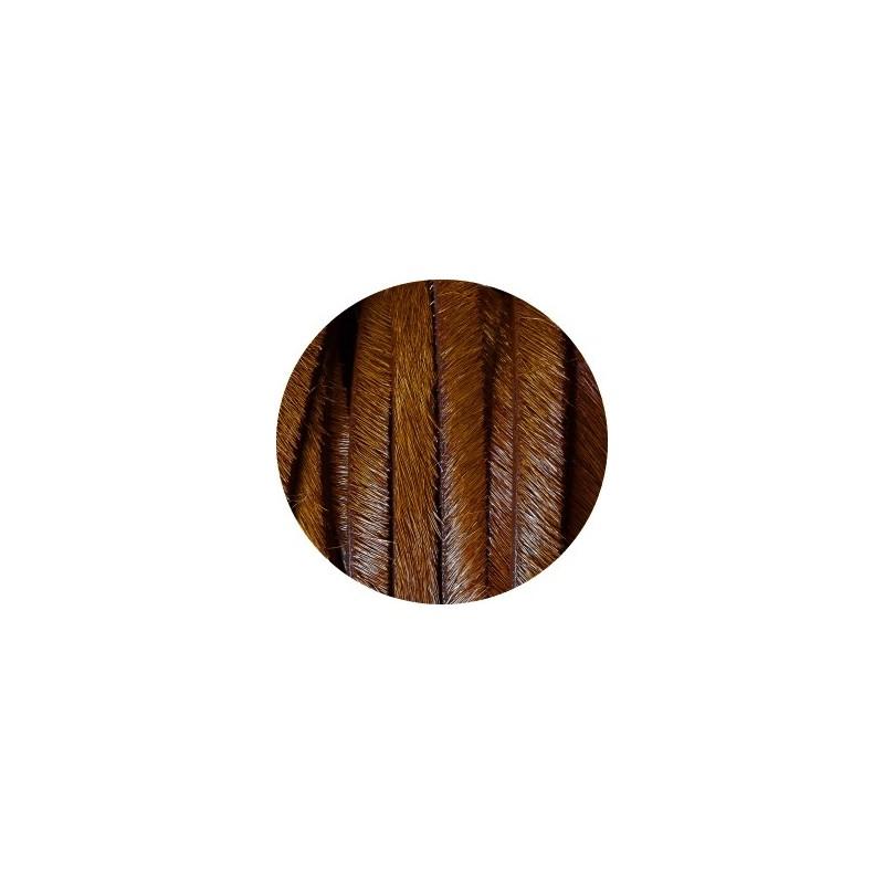 laniere de cuir plat 5mm marron avec poils vendue au metre. Black Bedroom Furniture Sets. Home Design Ideas