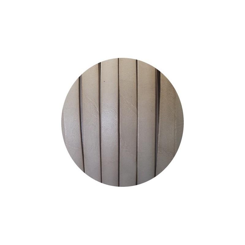 Cordon de cuir plat de 10mm gris clair taupe vente au cm - Gris taupe clair ...