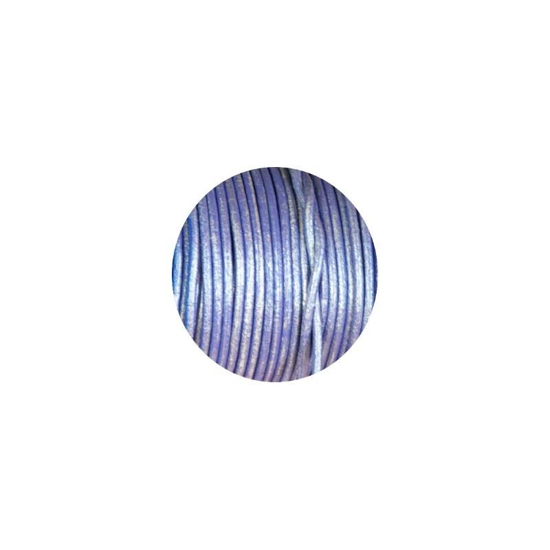 cordon de cuir rond lilas metallique 2mm espagne perlesmetal. Black Bedroom Furniture Sets. Home Design Ideas