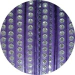 Cordon de cuir plat 6mm violet strass vendu au metre