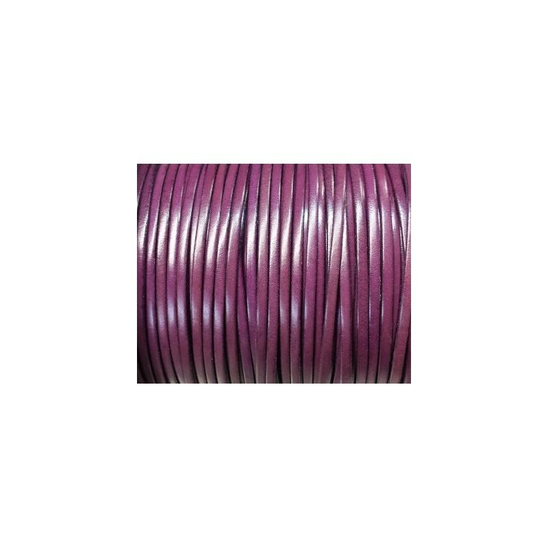 Cordon de cuir plat 5mm violet prune vente au cm - Violet prune couleur ...