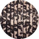 Laniere de cuir plat 5mm léopard beige avec poils synthétiques vendu au metre