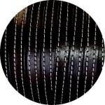 Cordon de cuir plat 10mm x 2mm noir coutures vendu au metre