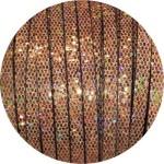Cordon de cuir plat paillettes 6mm disco cuivre vendu au mètre