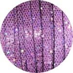 Cordon de cuir plat paillettes 6mm disco rose vendu au mètre