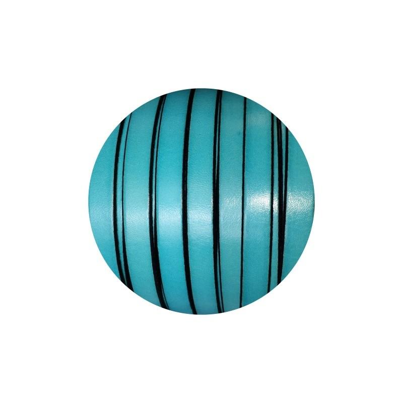 cordon de cuir plat 10mm x 2mm de couleur bleu turquoise vente au cm. Black Bedroom Furniture Sets. Home Design Ideas