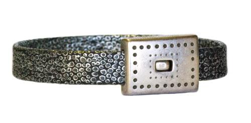 Bracelet aspect lézard noir acier