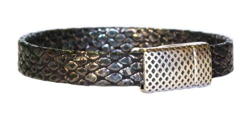 Bracelet simple tour 10mm aspect serpent noir